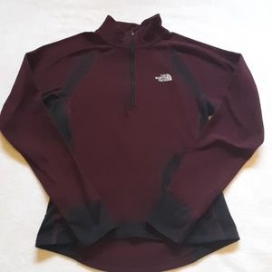 The North Face maroon pullover fleece.